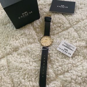Coach Slim Easton watch with black leather band